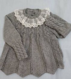 Cabled yoke sweater with razor shell or new shell body; tulle lace ruffle on neck Knitting For Charity, Knitting For Kids, Baby Knitting Patterns, Diy Crochet And Knitting, Crochet For Kids, Free Knitting, Baby Pullover, Knitted Baby Clothes, Knit Fashion
