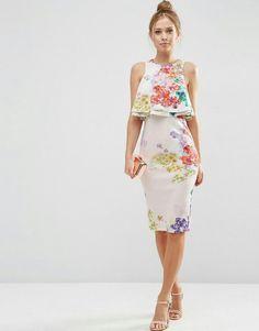 Shop ASOS PETITE Double Ruffle Floral Crop Top Midi Pencil Dress at ASOS. Day Dresses, Casual Dresses, Short Dresses, Summer Dresses, Formal Dresses, Pretty Dresses, Beautiful Dresses, Modest Fashion, Fashion Dresses