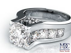 Engagement Ring - Modern Diamond Engagement Ring Princess Diamonds Band in 14K White Gold - ES550PRBRWG