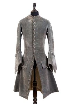 Newly conserved blue-grey silk velvet coat c1740 at Paxton House.