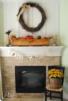 *PinkPostcard.*: rustic fall mantel