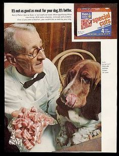 1968 Basset Hound photo Ken-L Ration Special Cuts dog food vintage print ad