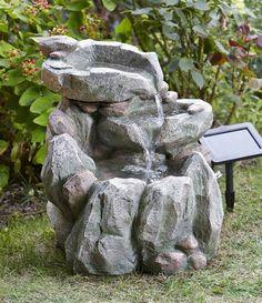 small solar powered water feature grey resin birdbath water fountain pizzaro style outdoor resin garden fountain outdoors pinterest garden - Solar Powered Fountain