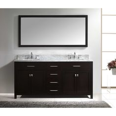 Virtu USA Caroline 72-inch Square Double Bathroom Vanity Set with Faucets (Brushed Nickel Faucets, Espresso Finish), Brown, Size Double Vanities