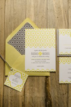 DANICA Suite Rustic Package, yellow and grey wedding invitation, yellow and gray, letterpress wedding invitations, twine for invitations