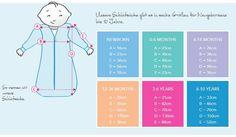 Schlummersack Schlafsäcke gibt es in sechs Größen, für neugeborene Babies bis für Kinder von zehn Jahren. Der Schlafsack muss lang und weit genug sein, damit Ihr Baby genug Bewegungsfreiheit hat und strampeln kann. Idealerweise sind die Füße Ihres Babies bei ca. ¾ der Länge des Schlafsacks. Dieses Bild liefert Ihnen weitere Informationen über die Abmessungen unserer Standard- und Langarmschlafsäcke.