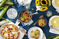 From left: Corn and Tomato Pizza; Roasted Corn With Miso Butter, Bacon and Roasted Onions;...