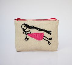 girl in pink dress coin purse -- hand embroidery on linen by NIARMENA on Etsy https://www.etsy.com/listing/154929366/girl-in-pink-dress-coin-purse-hand
