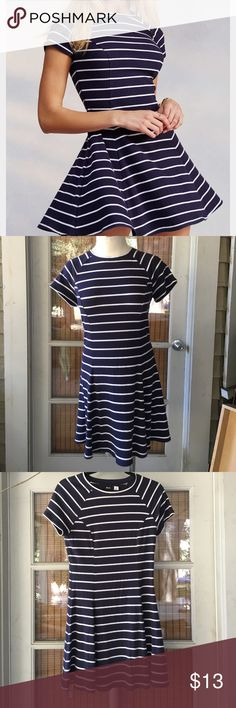 Urban Outfitters Striped Mock Neck Dress Urban Outfitters BDG brand A-line dress, slight mock neck neckline, navy blue with white stripes Urban Outfitters Dresses Mini