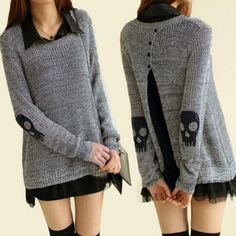 Casual Long Sleeve Skulls Pattern Pullover Sweater