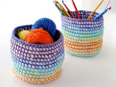 Little baskets are so handy for corralling small miscellanea that seem to end up all over the house, you can never have too many. I've created some lovely rainbow hued ones with a simple coil basket making technique, but instead of weaving I've used crochet which makes the process go a lot faster. There baskets were actually an experiment in...