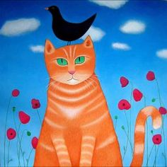 Burd Whit Burd or Bird by Ailsa Black, This artist card is blank inside and published by Art Cove UK. Chats Tabby Oranges, Cat Empire, What Is A Bird, Art Carte, Artist Card, Cat Art Print, Orange Tabby Cats, Cat Colors, Animal Coloring Pages