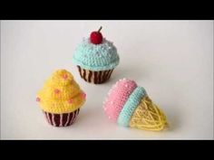 Crochet Toy Pattern - Cherry Cupcake Amigurumi Toy Food - YouTube