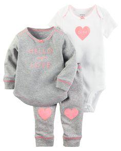 Baby Girl 3-Piece Babysoft Bodysuit & Pant Set   Carters.com