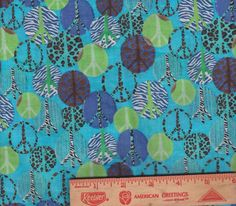 "Peace Sign symbol Hippy Leopard Cheeta Zebra bolt end scrap fabric 8"" by 44"""