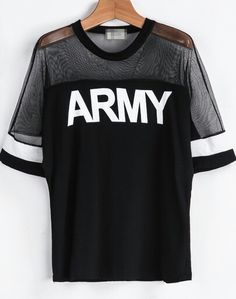 Shop Black Contrast Sheer Mesh Yoke ARMY Punk Comfortable Halloween Eve Sexey Print T-Shirt online. SheIn offers Black Contrast Sheer Mesh Yoke ARMY Punk Comfortable Halloween Eve Sexey Print T-Shirt & more to fit your fashionable needs. Kpop Fashion, Korean Fashion, Fashion Outfits, Fashion Clothes, Mode Kpop, Bts Shirt, Bts Clothing, Apparel Clothing, Clothing Accessories