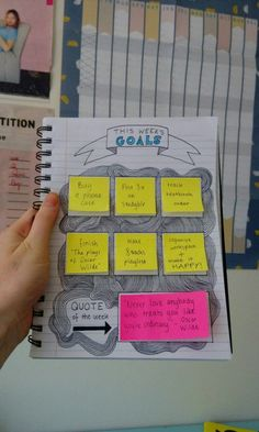 """laurensyy-study: """"So I decided to make a sticky note weekly goal planner in my bullet journal to keep me on track with all my short term goals and I can say I am pretty proud of myself :))) """" Bullet Journal Guide, Bullet Journal Inspiration, Bullet Journal Goals, Smash Book Inspiration, Goals Planner, Life Planner, Agenda Planner, Diary Planner, Passion Planner"""