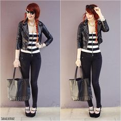 Necklace, H Studded Leather Jacket, Top, High Waisted Jeans, Primark Studded Bag, Buckle Plateau High Heels