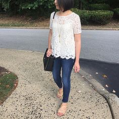 @LOFT Lace Tee. Outfit details on www.whatjesswore.com.