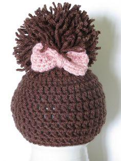 Crochet Newborn Pom Pom Hat with bow Crochet Newborn by giggalz,