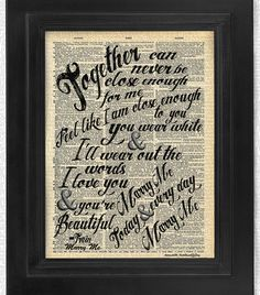Buy3Get3Free Train Marry Me Lyric on Antique by HelloUwall on Etsy