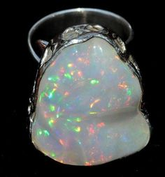 TAXCO 950 STERLING SILVER MEXICAN JEWELRY NATURAL SUPREME OPAL RING PEÑA DESIGN