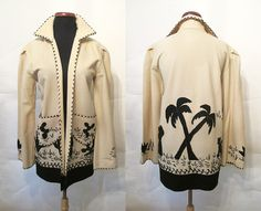 The Holy Grail of Vintage Mexican Tourist Jacket Black on Cream Applique! This is the best ever hand appliqué Mexican Jacket! Vintage Jeans, Vintage Love, Vintage Outfits, Vintage Clothing, 1940s Fashion, Love Fashion, Womens Fashion, Mexican Skirts, Black Felt