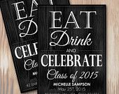 Adorable DIY Eat Drink Celebrate Class of 2015 Graduation Announcement or Party Invitation - Instant Download Microsoft Word Template at Spilled Glitter! #SpilledGlitterSTL #ClassOf2015 #Graduate