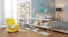 Scandinavian-style bedroom by Ragalraum GmbH MAXX room divider shelving system Source by Room Divider Shelves, Room Divider Curtain, Room Shelves, Room Dividers, Freestanding Room Divider, Scandinavian Style Bedroom, Open Shelving Units, Open Shelves, Living Room Storage