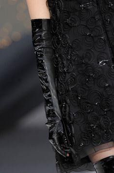 Chanel Fall 2013 - Details. Chains, gloves, tweed, wool, patent, black.