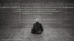 ... La practica espiritual no se basa en alcanzar cosas o de lograr algo, la práctica espiritual consiste en vaciarte. Vaciarte de mente, de pensamientos y de ilusiones y permanecer en tu estado natural.