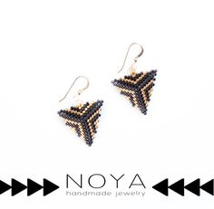 #HANDMADE #goldfilled #earrings made from black and gold delica beads. by Noya Eliaz #beading #beadwork #delicabeads #bead #jewelry
