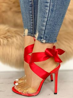 Crisscross Transparent Strap Bow Sandals Crisscross Transparent Strap Bow Sandals Crisscross Transparent Strap Bow Sandals The post Crisscross Transparent Strap Bow Sandals appeared first on Fashion Chic. Red Shoes, Cute Shoes, Me Too Shoes, Women's Shoes, Shoes Style, Shoes With Red Soles, Red High Heel Shoes, Bass Shoes, Satin Shoes