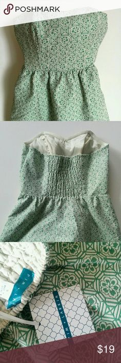 NWT Pim + Larkin Piperlime Strapless Dress New with partial Tags. Green and white textured Pim + Larkin, sweetheart neckline strapless dress. Side zip, and stretchy fabric along back. Piperlime Dresses