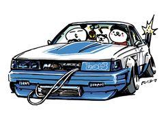 "car illustration ""crazy car art"" jdm japanese old school ""SOARER"" original cartoon ""mame mame rock"" / © ozizo ""Crazy Car Art"" Line stickers LINE STORE http://line.me/S/shop/sticker/author/92016"
