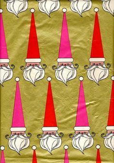 Christmas •~• vintage pink and red Santa gift wrap