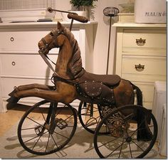 riding horse toy - that looks like a lot of fun Antique Rocking Horse, Rocking Horse Toy, Vintage Horse, Antique Toys, Vintage Antiques, Wooden Horse, Carousel Horses, Old Toys, Retro