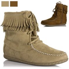 Womens Moccasin Fringe Faux Suede Ankle Tassel Lace Flat Bootie Soda Shoe Tying | eBay