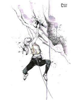 LOZEN GIRL PRINT, dessin femme escalade falaise
