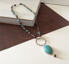 Turquoise and Brown Wood Link Pendant Necklace on Etsy, $18.00