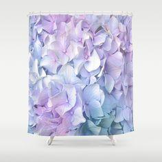 Soft Pastel Hydrangea Shower Curtain