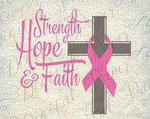 Strength Hope Faith Breast Cancer Awareness Cross SVG DXF Cutting File Instant Download Cricut Silhouette Cameo Digital Vinyl Cut Clip Art