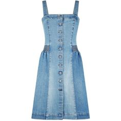 Stella McCartney Carley Denim Dress (1 187 385 LBP) ❤ liked on Polyvore featuring dresses, blue button up dress, blue denim dress, button up dress, structured dress and button down dress