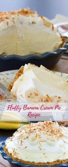 Fluffy Banana Cream Pie Recipe - All Recipes - Top Recipes Today Easy Pie Recipes, Cream Pie Recipes, Top Recipes, Pastry Recipes, No Bake Desserts, Dessert Recipes, Cake Recipes, Dessert Halloween, Thanksgiving