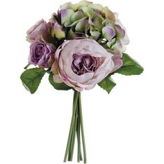 "Creative Displays Faux Hydrangea, Rose and Peony Silk Bouquet (8 L x 8"" W x 11.5"" H; 4 oz.; Green & Lavender)"