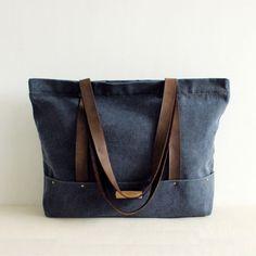 Handmade Large Canvas Tote Handbag for Women Beach Bag Shoulder Bag 14043 -  Gray  e12f87a92