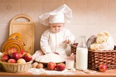 Baby Cute Little Baby Girl Cute cook chef hat dress uniform Home Decoration Canvas Poster