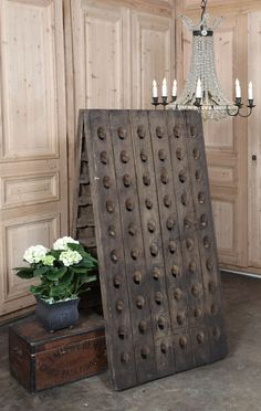 Vintage Champagne Riddling Rack | #wineroom #antique #winery | Inessa Stewart's Antiques