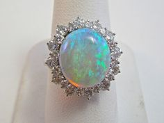 Vintage Estate Opal & Diamond 1980's Halo Birthstone Anniversary Ring 14K