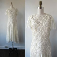 1980s lace white dress | vintage 80s white dress | wedding dress | 1920s inspired dress | medium to large | I Thee Wed Dress by VivianVintage8 on Etsy